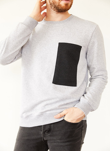 XHAN Gri Göğüs Detaylı Üç Iplik Sweatshirt 1Kxe8-44132-03 Gri